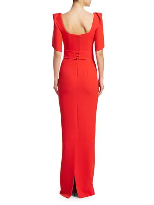 Safiyaa Dara Ruffle-Sleeve Crepe Gown back view