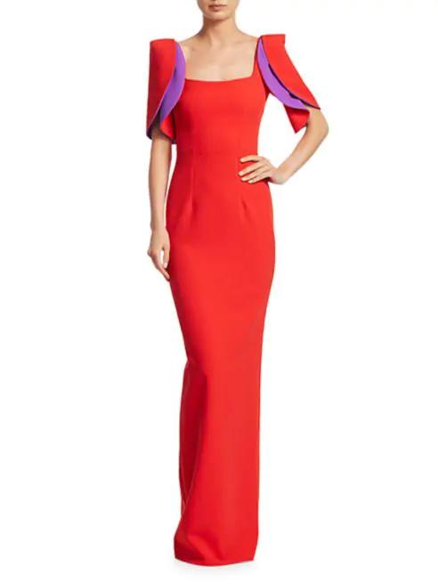 Safiyaa Dara Ruffle-Sleeve Crepe Gown v2