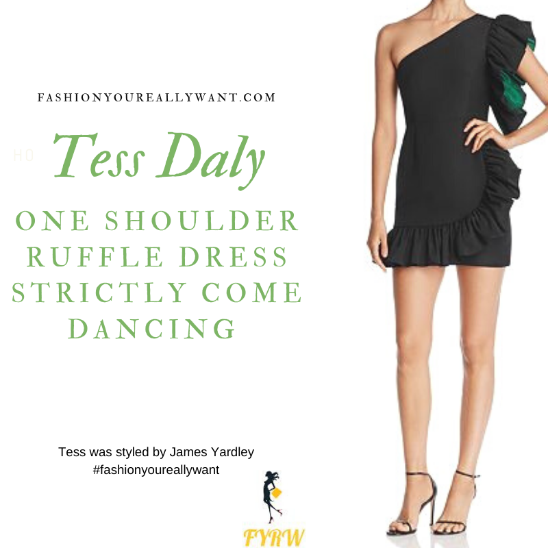 Tess Daly Wore this black and green one shoulder ruffled mini dress on the Strictly Come Dancing Week 6 Results Show October 2019 outfit blog