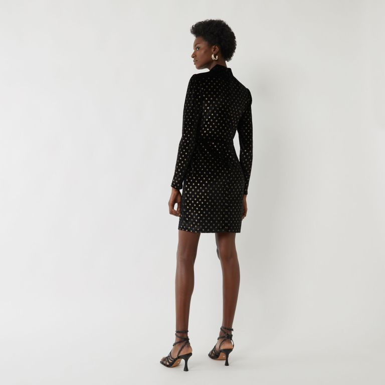 Warehouse FOIL SPOT VELVET BODYCON DRESS back view