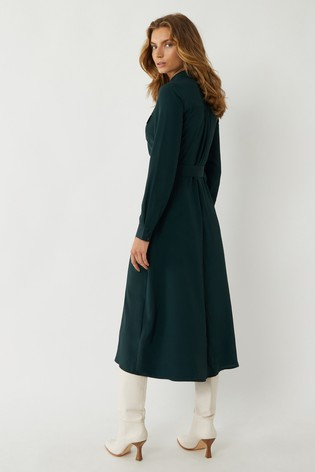 Warehouse Green Belted Midi Shirt Dress back view