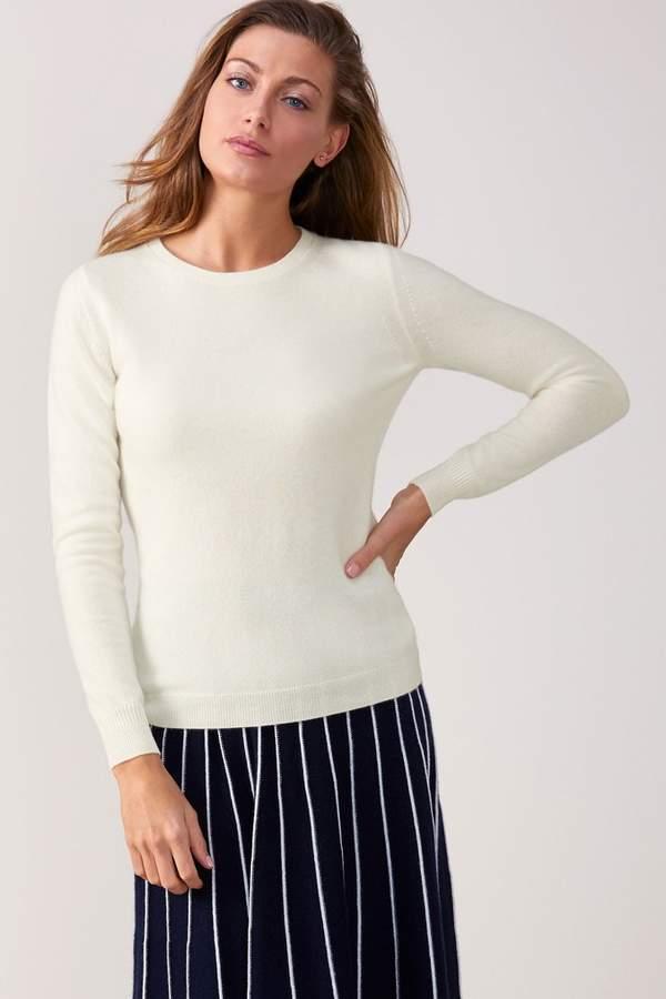 Womens Pure Collection White Cashmere Slim Fit Crew Neck Sweater - White