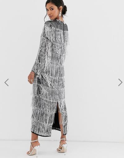 ASOS EDITION sequin & fringe midi tunic dress-Silver back view