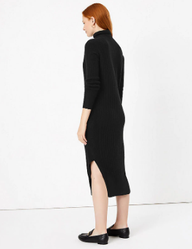 Autograph Pure Cashmere Ribbed Knitted Dress back view