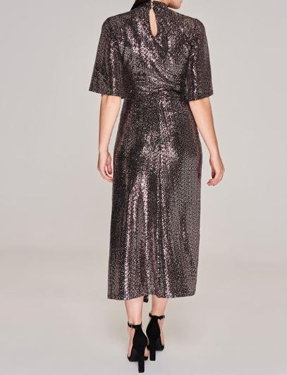 Biba High Neck Sequin Dress back view