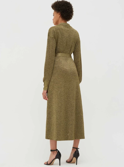 Chinti & Parker Gold Knitted Shirt Dress back view