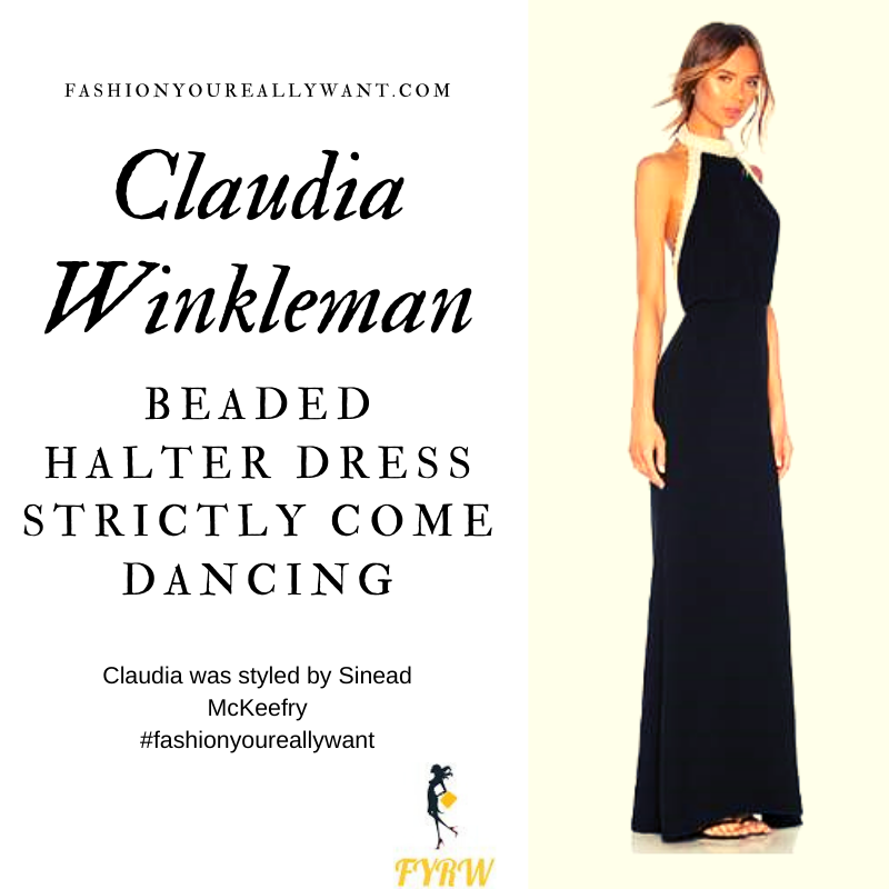 Claudia Winkleman Wore This black halter dress with white beading on Strictly Come Dancing Week 8outfit blog November 2019