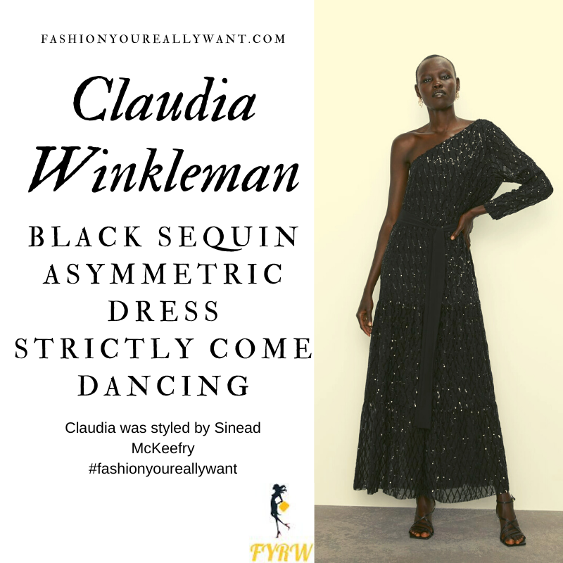 Claudia Winkleman wore This black sequin one shoulder asymmetric dress on Strictly Come Dancing Week 10 outfit blog November 2019