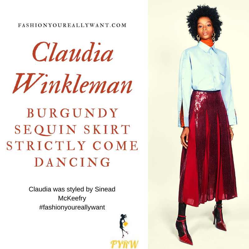 Claudia Winkleman wore This Burgundy Sequin Skirt with a halter neck top and pink shoes on Strictly Come Dancing Week 7 Results Show outfit blog November 2019