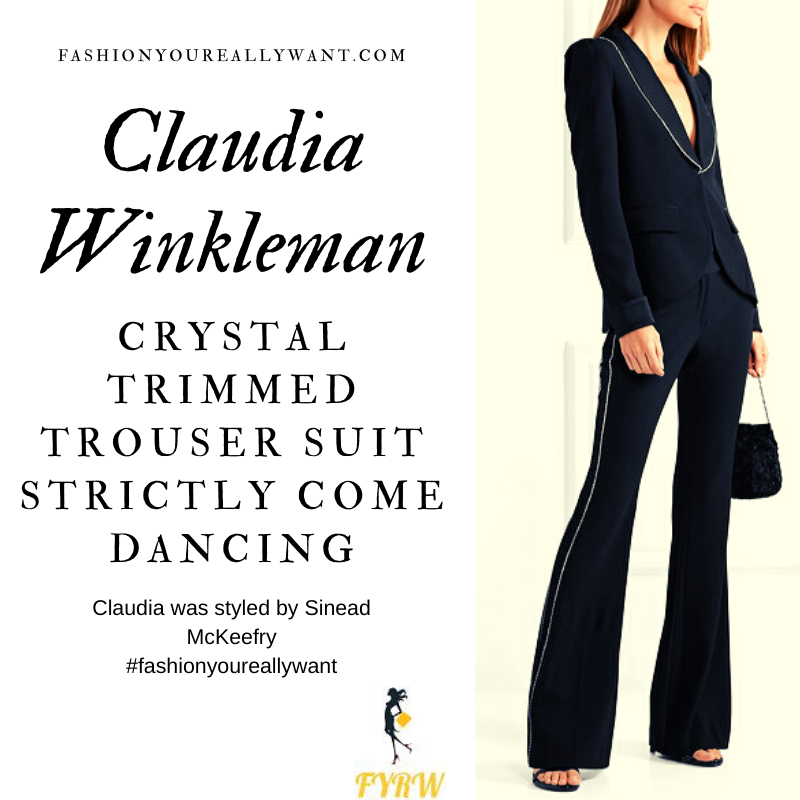 Claudia Winkleman Wore This Crystal Trimmed Black Trouser Suit with black and green platform shoes on Strictly Come Dancing Week 7 outfit blog November 2019