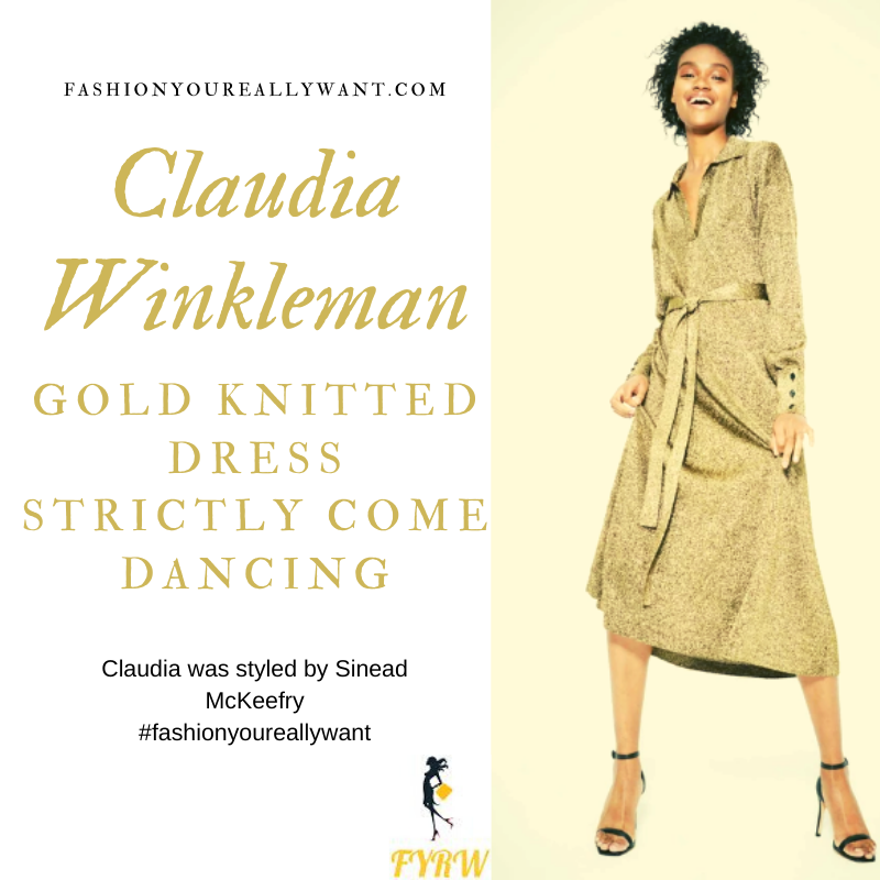 Claudia Winkleman wore This Gold knitted dress with leopard court shoes on Strictly Come Dancing Week 10 Results Show outfit blog November 2019