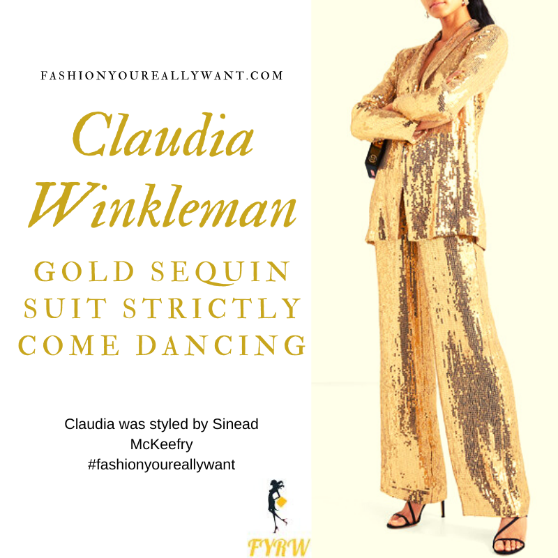 Claudia Winkleman Wore this Gold Sequin Trouser Suit on Strictly Come Dancing Week 9 outfit blog November 2019