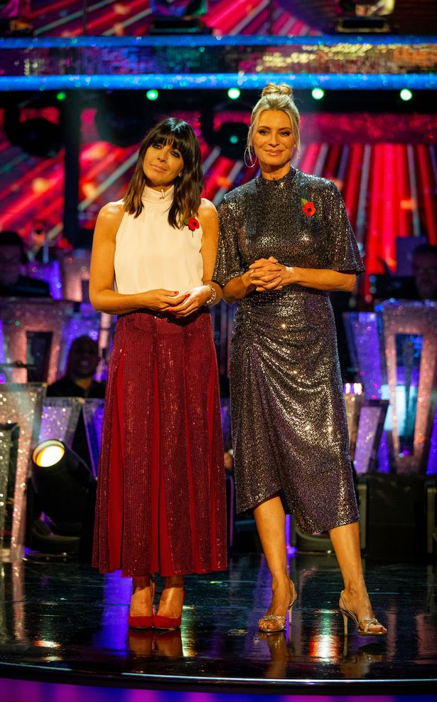 Claudia winkleman red sequin skirt Strictly Photo BBC Guy Levy