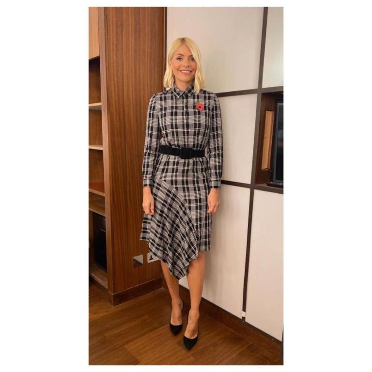 Holly Willoughby asymmetric check dress This Morning outfit today 11 November 2019 Photo Holly Willoughby