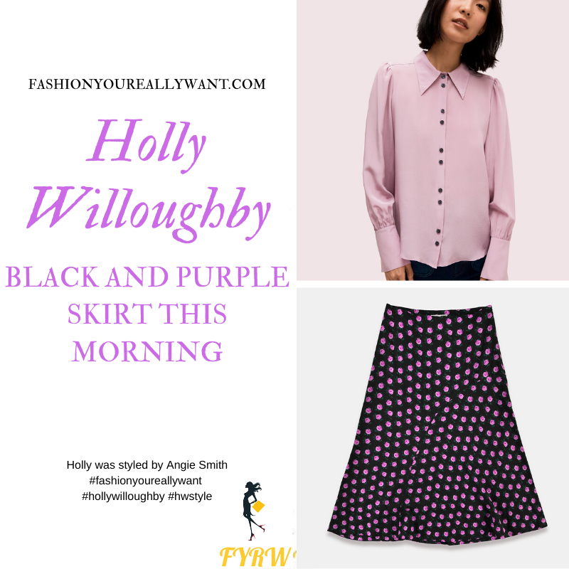 Holly Willoughby Wore This black and purple floral skirt with light purple blouse on This Morning today outfit blog November 2019