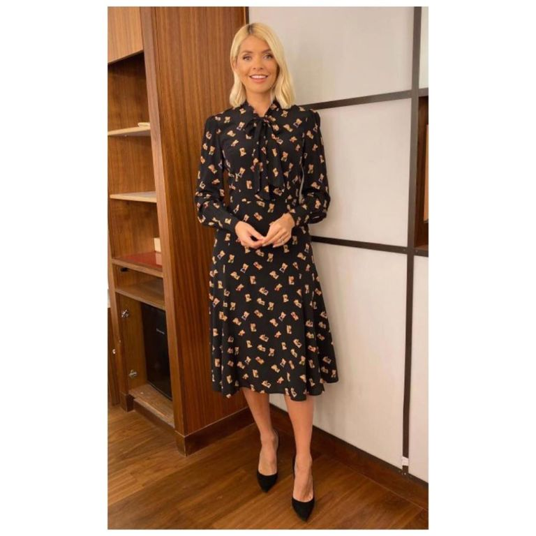 Holly Willoughby black book print dress This Morning outfit today November 2019 Photo Holly Willoughby