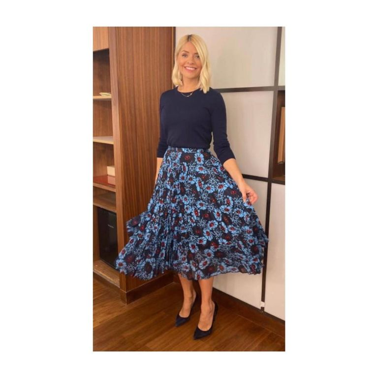 Holly Willoughby blue and red floral pleated skirt navy blue knitwear This Morning outfit today November 2019 Photo Holly Willoughby