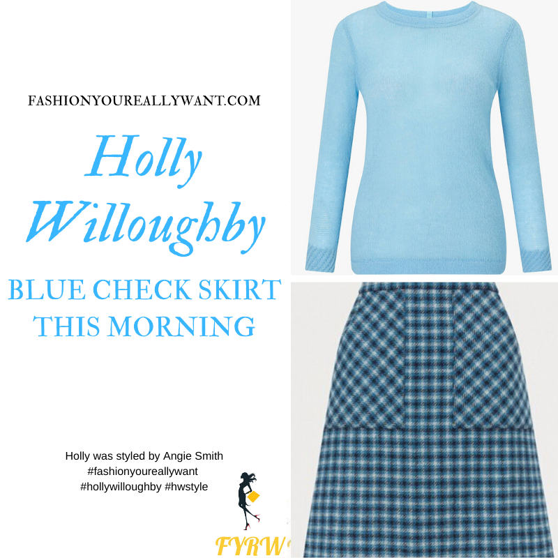 Holly Willoughby Wore This Blue Check Mini Skirt with blue crew neck jumper and black ankle boots on This Morning today outfit blog November 2019