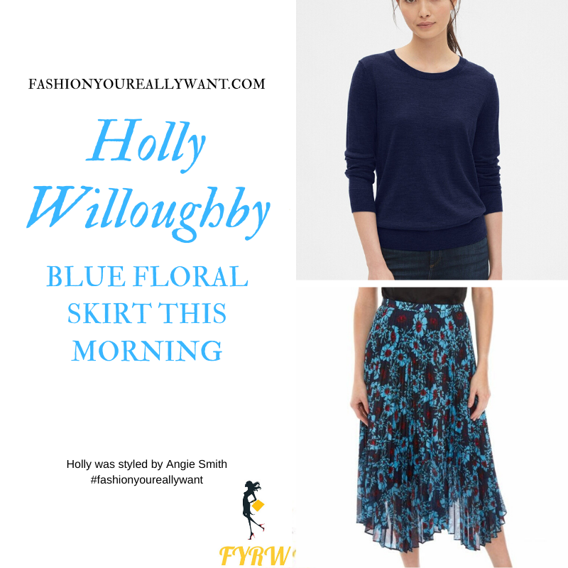Holly Willoughby Wore This blue floral pleated skirt with a navy blue jumper on  This Morning today outfit blog November 2019