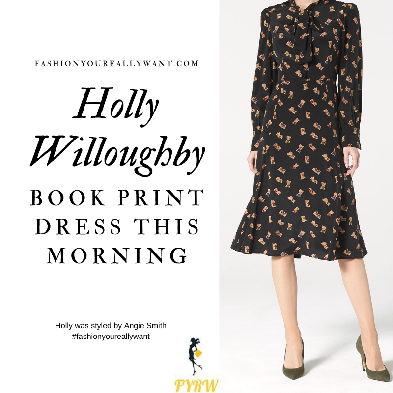 Holly Willoughby wore This black Book Print Dress on  This Morning today outfit blog November 2019