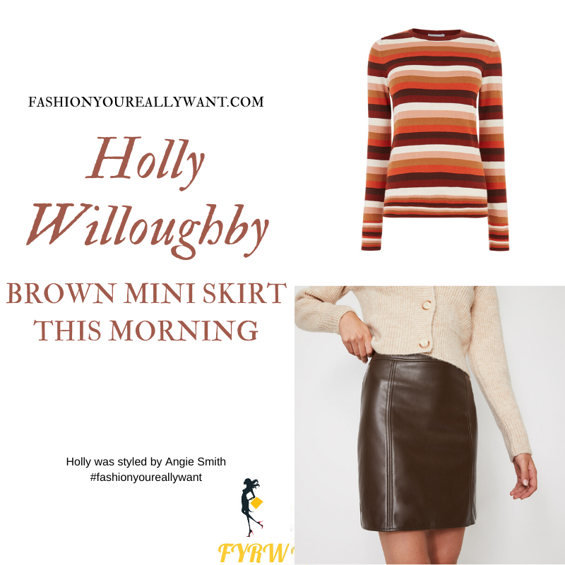 Holly Willoughby Wore This Brown Faux Leather Mini Skirt with Brown and Orange Striped Jumper and taupe ankle boots on This Morning today outfit blog November 2019
