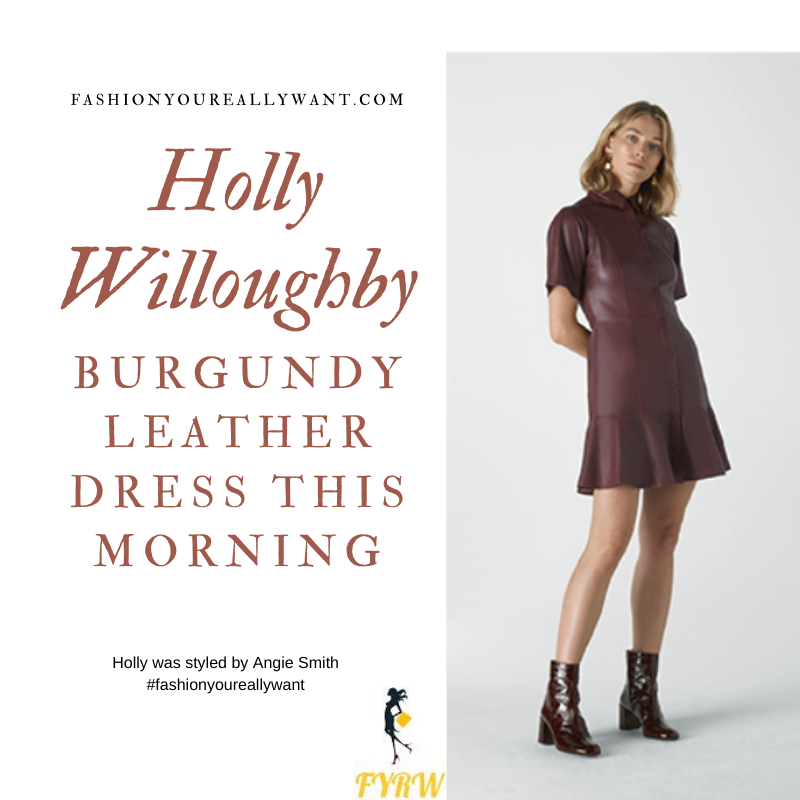 Holly Willoughby Wore This burgundy leather mini dress on  This Morning today outfit blog November 2019