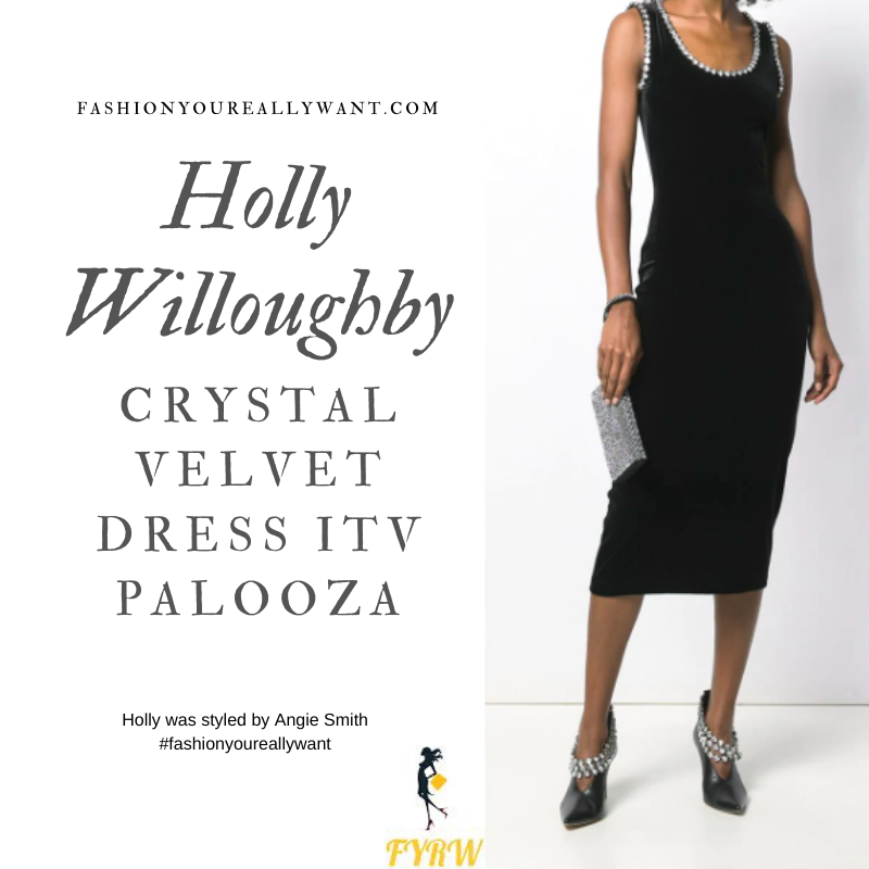 Holly Willoughby Wore This Crystal Embellished Velvet Dress to attend the  ITV Palooza 2019 outfit blog November 2019