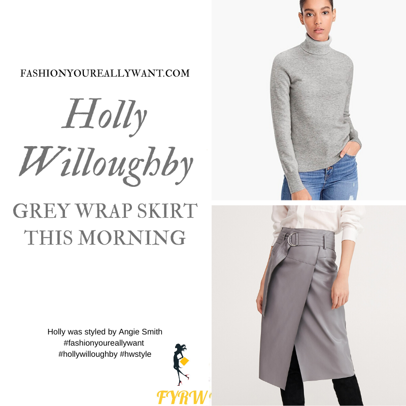 Holly Willoughby Wore This grey D ring wrap skirt with grey polo neck on This Morning today outfit blog November 2019 where to get her style