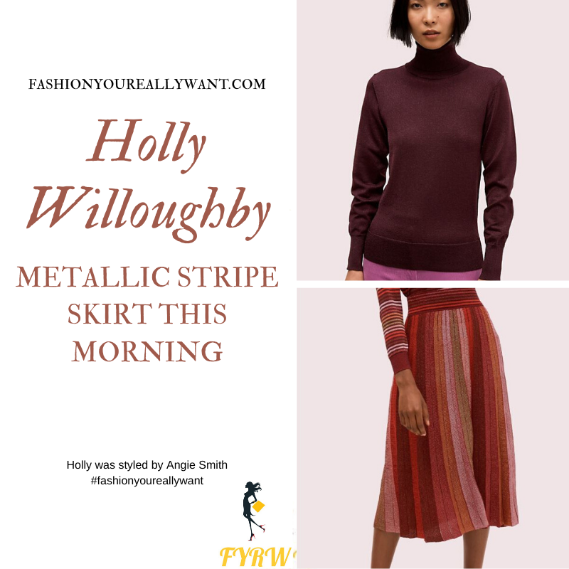 Holly Willoughby Wore This red metallic stripe skirt with plum metallic knitwear on This Morning today outfit blog November 2019