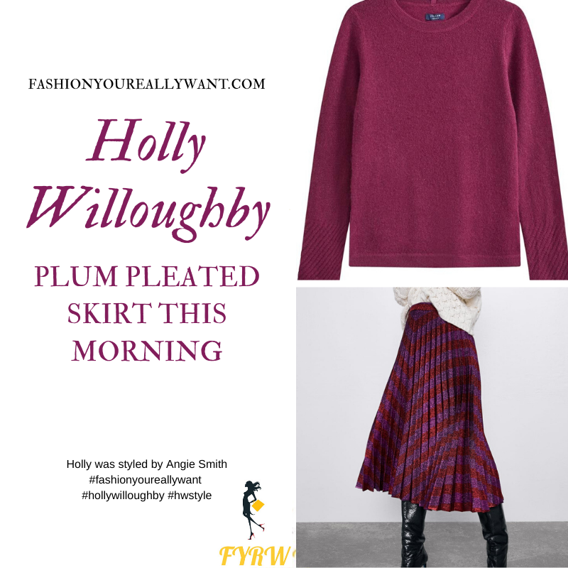 Holly Willoughby Wore This plum pink zigzag pleated skirt with plum crew neck jumper on This Morning today where to find all her outfits blog November 2019