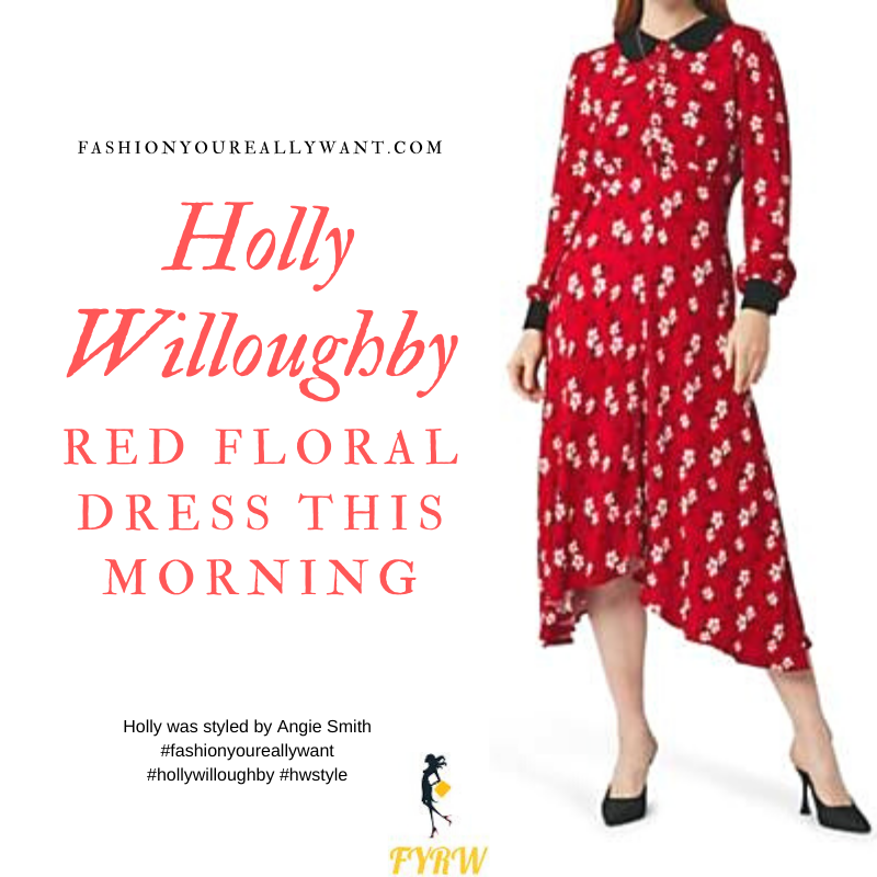 Where to get Holly Willoughby outfits on  This Morning November 2019 red floral dress with lack collar