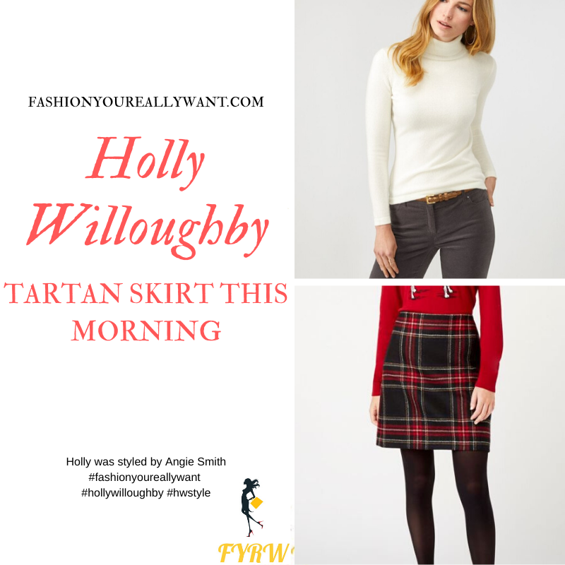 Holly Willoughby Wore This black and red tartan mini skirt with an off white polo neck and black ankle boots on This Morning today outfit blog November 2019