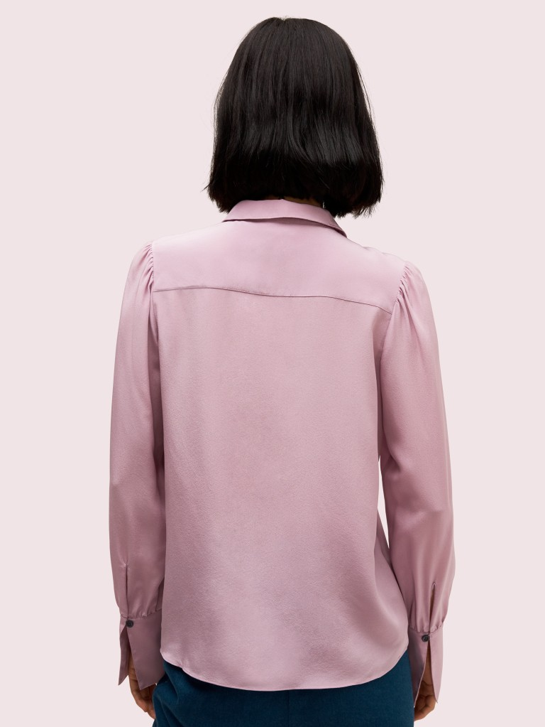 Kate Spade Silk Point Collar Blouse back view