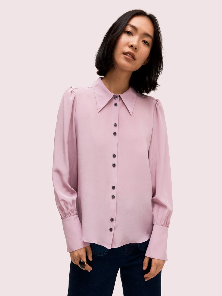 Kate Spade Silk Point Collar Blouse