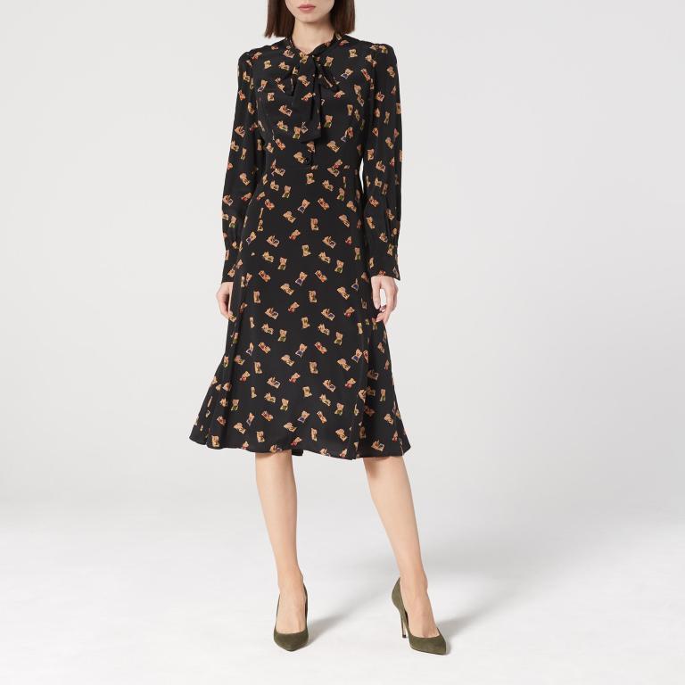LK Bennett Mortimer Black Book Print Silk Dress