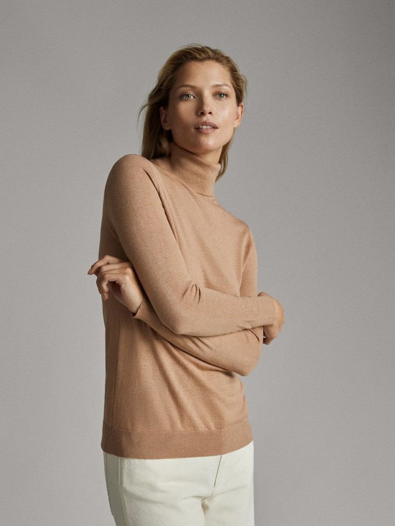 Massimo Dutti Plain Silk Wool Sweater