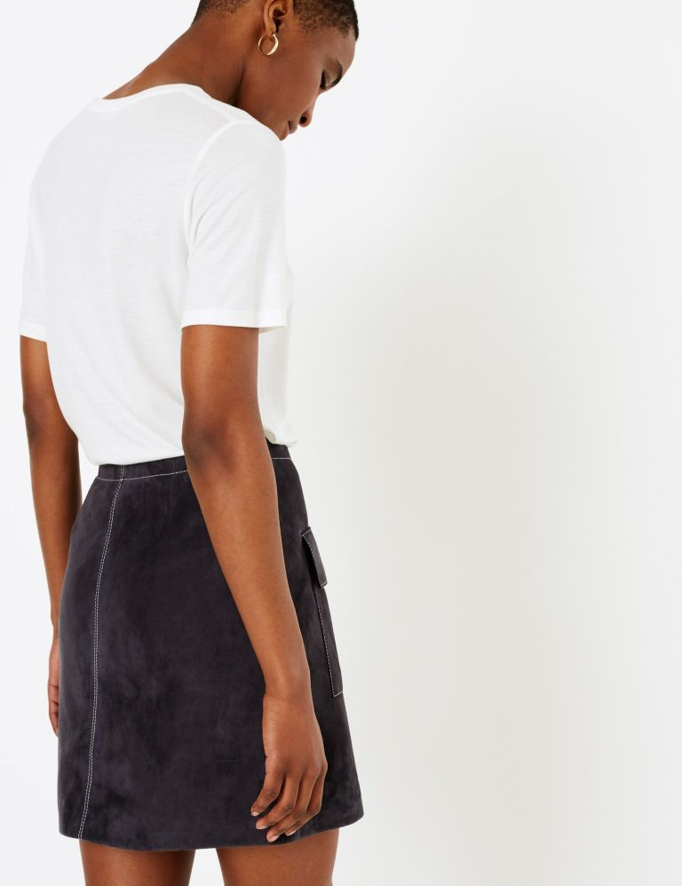 M&S Autograph Suede Mini A-Line Skirt back view