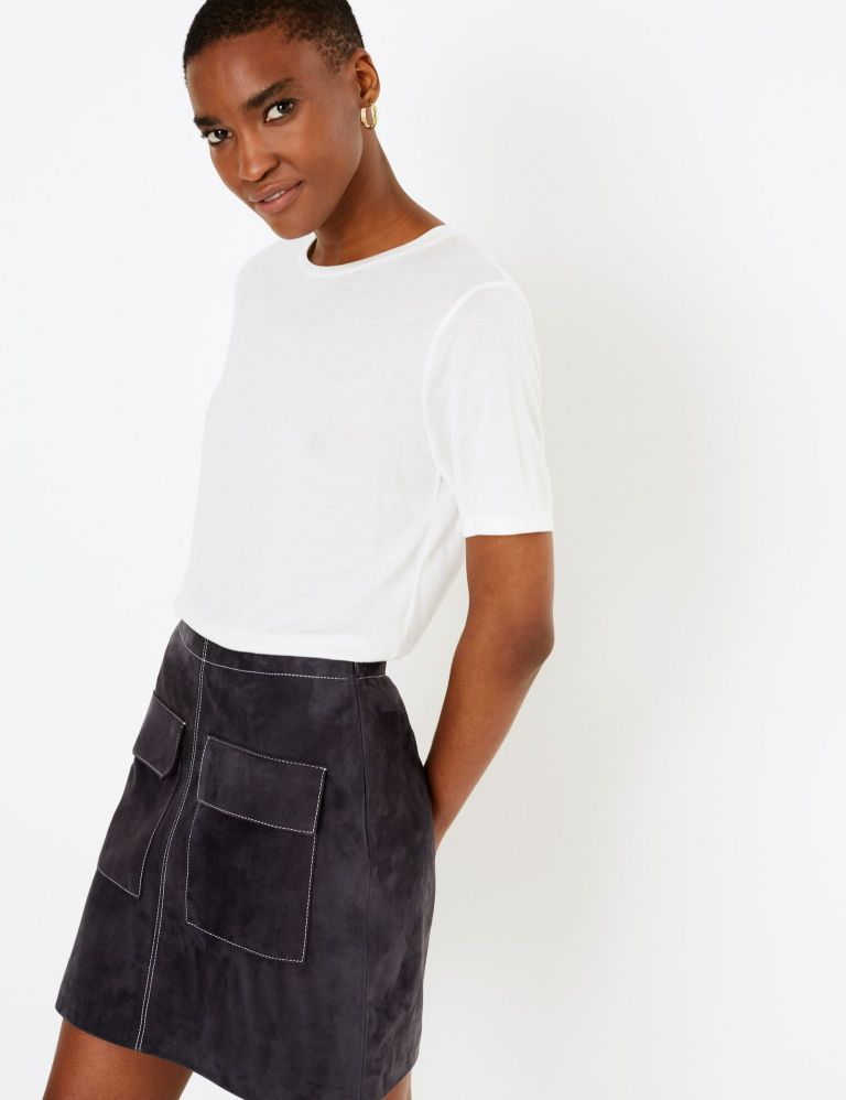 M&S Autograph Suede Mini A-Line Skirt