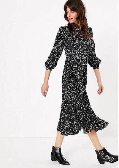 M&S Collection Satin Printed Waisted Midi Dress
