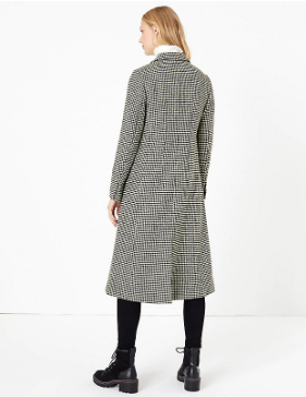 M&S Collection wool blend dogtooth print overcoat back view