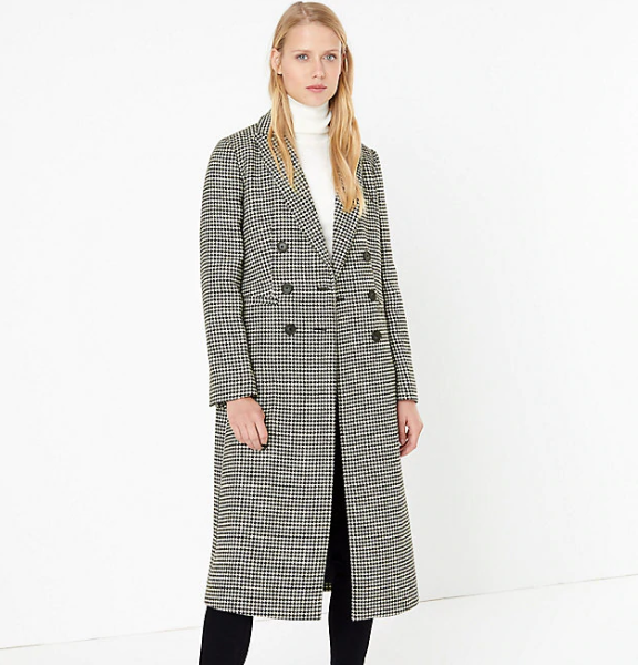 M&S Collection wool blend dogtooth print overcoat
