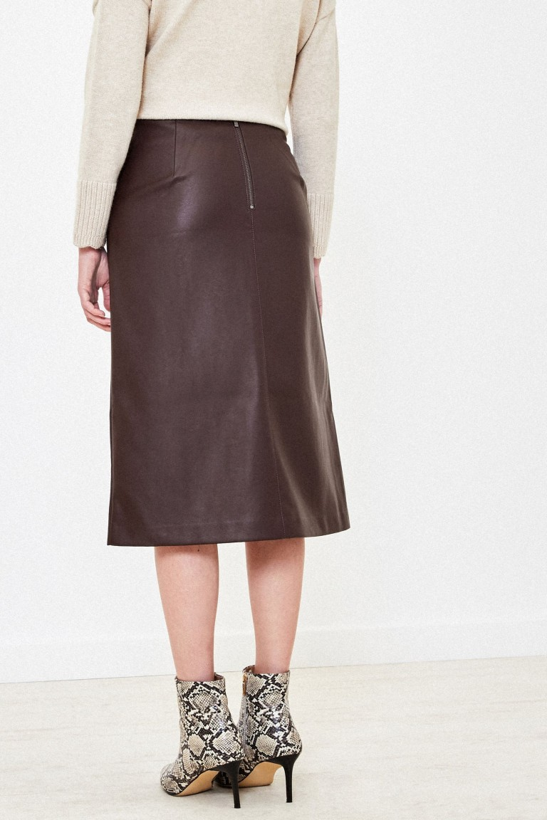 Oasis Brown Faux Leather Midi Skirt back view