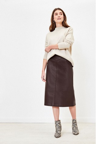 Oasis Brown Faux Leather Midi Skirt v2