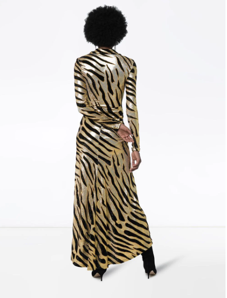 Paco Rabanne tiger stripe maxi dress back view