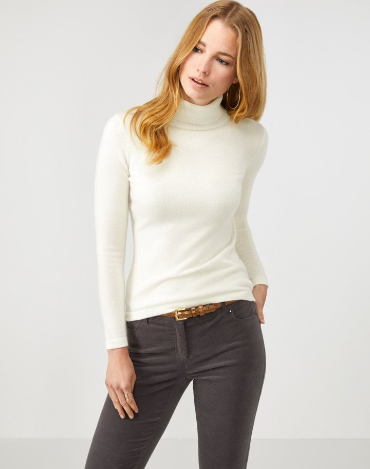 Pure Collection Cashmere roll Neck Sweater Soft White