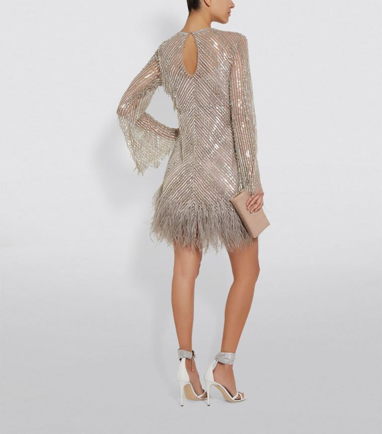 Rachel Gilbert Eugenie Feather Trimmed Mini Dress back view