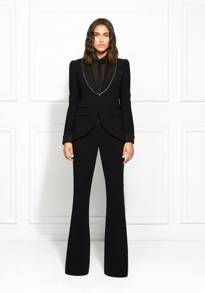 Rachel Zoe Tyler Crystal-Trimmed Satin-Backed Crepe Blazer