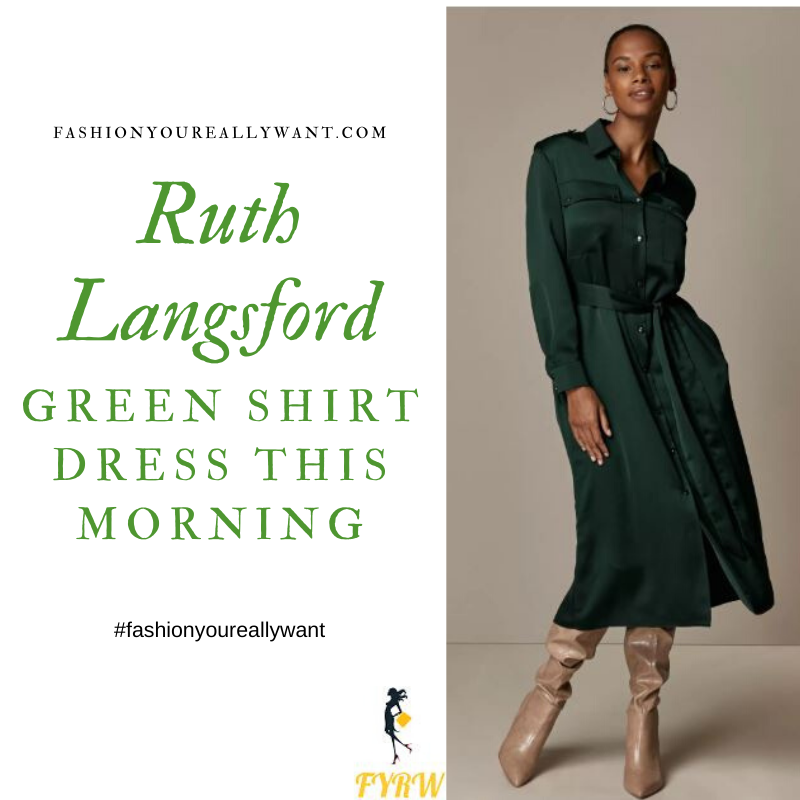Ruth Langsford Wore this green utility shirt dress on  This Morning today outfit blog November 2019