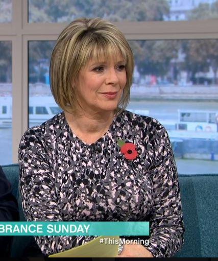 Ruth Langsford grey animal print jumper this morning November 2019 photo ITV com
