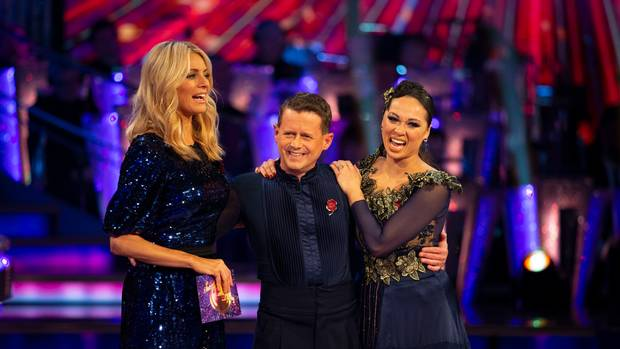 Tess Daly blue sequin and lace dress Strictly 10 November 2019 Photo Guy Levy BBc